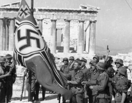 Raising of the Nazi battle flag at the parthenon. Athens, Greece
