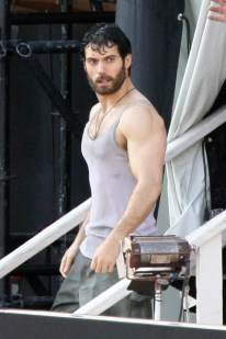 Henry Cavill wears a singlet in a fire rescue scene on set of 'Man of Steel'