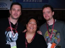 Me, with The Schmoes Know guys, Kris Harloff (left) and Mark Ellis (right)