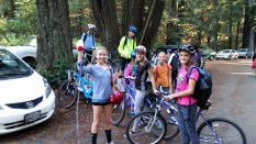 Girl Scouts Troop 10423 loading bikes after the ride