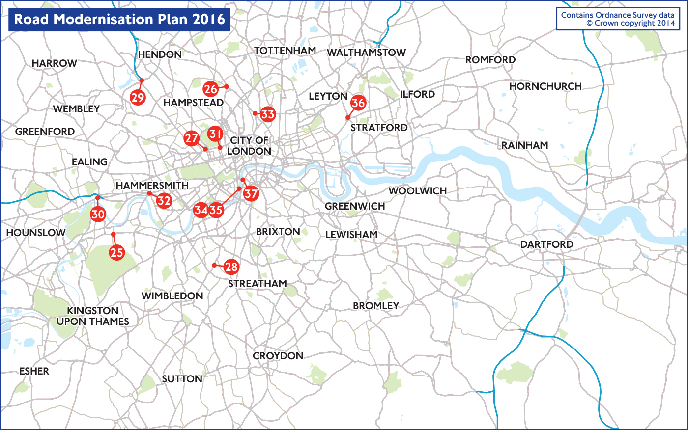 Map Of 2016 Road Projects Transport For London