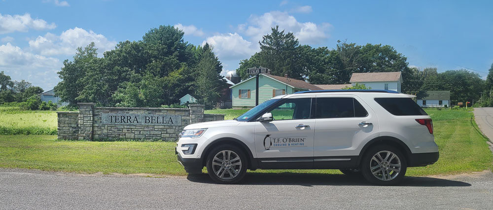 t.f. o'brien hvac van parked outside of terra bella community