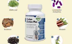 An image of colon cleanse bottle - with ingredients