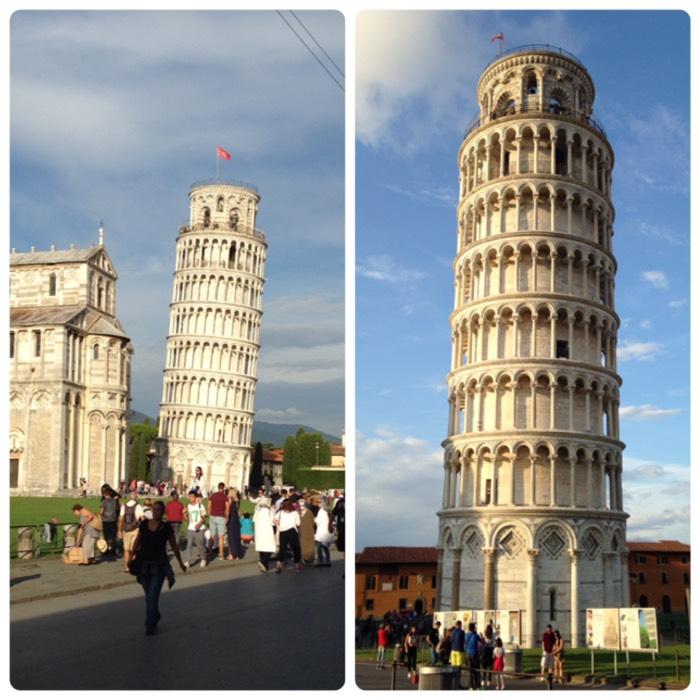 世界遺産。ピサ大聖堂の鐘楼です。地上55.86m、階段は296段、重量は14,453t。5.5度傾いていたが、1990年から2001年の間に行われた工事によって、現在は約3.99度の傾きに是正されました。 本当に4度弱しか傾いてないの?もっと傾いてるよね‼️ 因みにガリレオ・ガリレイによる落下の実験が行われたという伝説が残っていますが、ガリレオがピサで実験を行った事実は無いそうです。