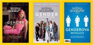 The covers of the US editions (left, centre) and the Czech edition (right) of the National Geographic's special issue on 'Gender Revolution'