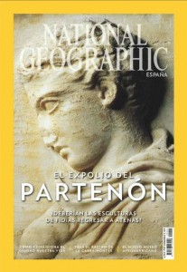 "The image shows the cover of the National Geographic in spain. There is a photo of a bust/statue in the background. The words ""El expolio del partenon"" are overlayed in big white text on the foreground."