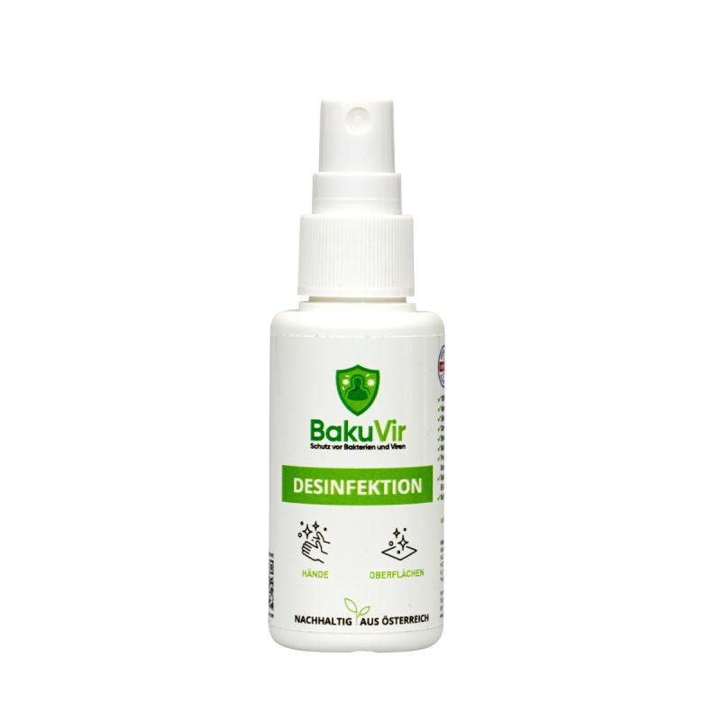 BakuVir Flasche in 50ml mit Sprühkopf zur Händedesinfektion