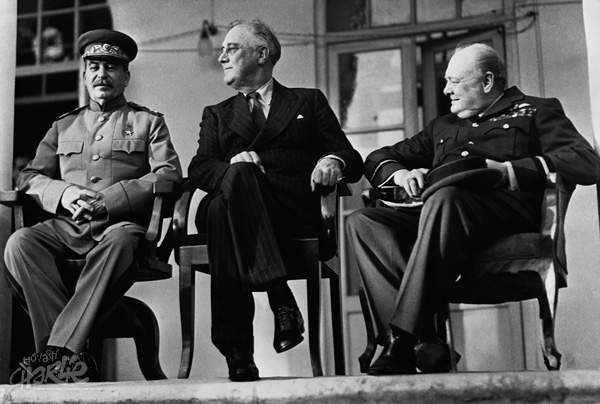 "Pictured left to right, Josef Stalin, President Franklin D. Roosevelt & Prime Minister Winston S. Churchill: ""The Big Three"" at the Tehran Conference of November/December 1943, where the US and British committed to a Second Front in France for spring 1944."