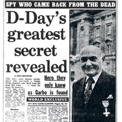 Breaking Headline revealing identity of Juan Pujol Garcia as GARBO