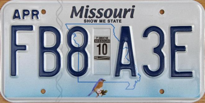 "Missouri Liscense Plate ""Show Me State"""