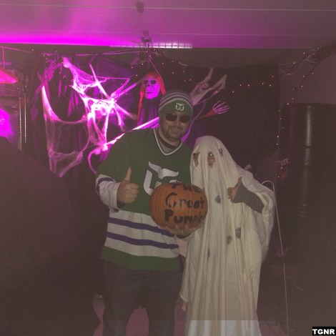 A Hartford Whalers Zombie, the Holely Ghost, and the Great Pumpkin present for trick or treat