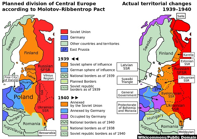 Hitler-Stalin pact division of Eastern Europe and the Balkans