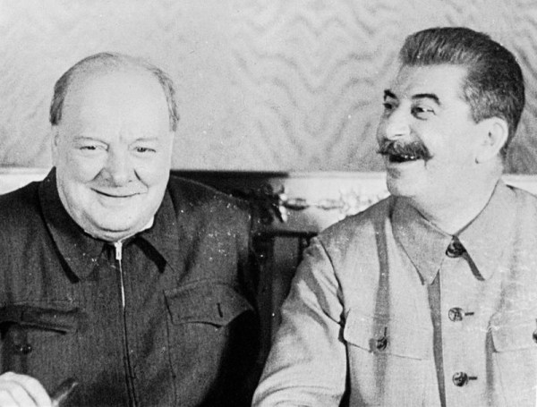 Churchill & Stalin August 1942. The road to VE Day often lead to the Kremlin.