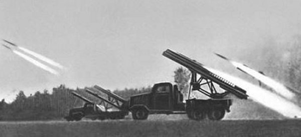Katyusha rocket launchers attached to US Lend-Lease Studebaker trucks, a palpable product of the Grand Alliance
