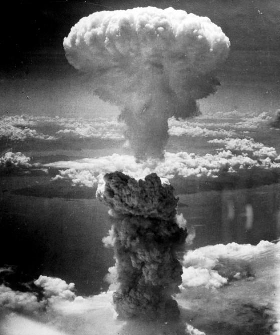 The atomic bombing of Nagasaki, Japan.