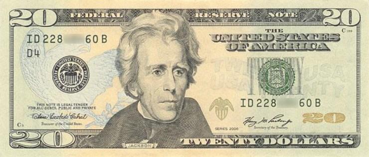 Andrew Jackson on US $20 Dollar Bill