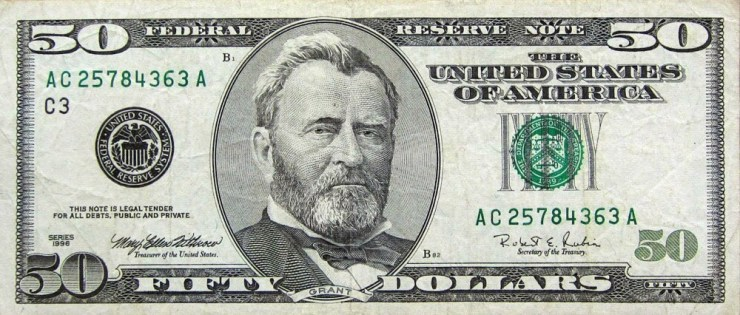 President Grant on US $50 Dollar Bill