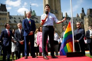 PM Justin Trudeau raises the Pride Flag on Parliament Hill