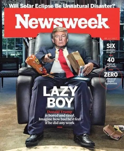 Newsweek Lazy Boy Donald Trump
