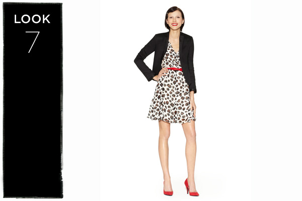 Dress in leopard print with satin blazer in black