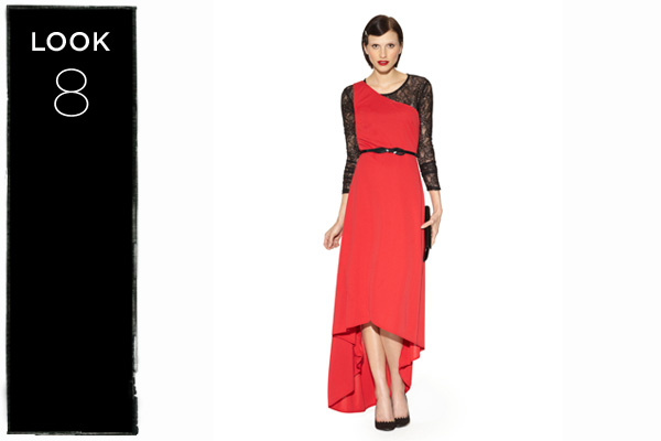 Bodysuit in black lace with one-shoulder evening dress in red