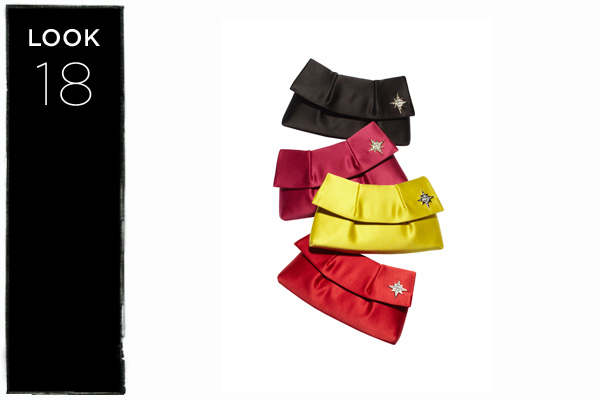 Satin clutch in black, pink, yellow, or red