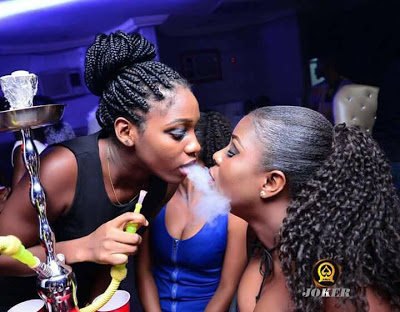 Checkout Photos Of Nigerian Girls In A Smoking Competition At A Club In Edo State