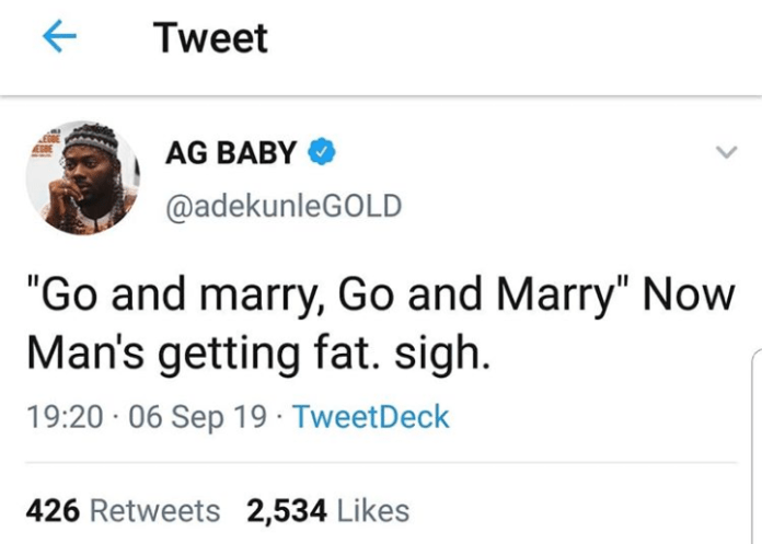 """I'm getting fat after getting married"" – Adekunle Gold cries out"