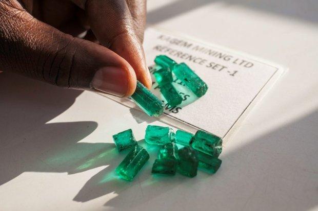 Emeralds from the Kagem mine in Lufwanyama.