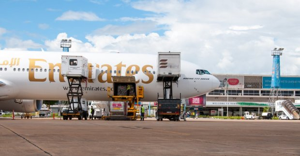 Facilitating local trade: an Emirates Boeing 777-300ER aircraft being loaded with cargo at Kenneth Kaunda International Airport in Lusaka.