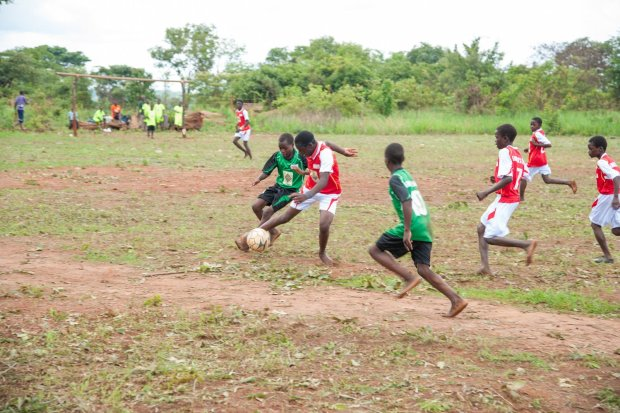 Game on in Kawela in a match in the FQM Farmers' Football league set up by Kansanshi Foundation.