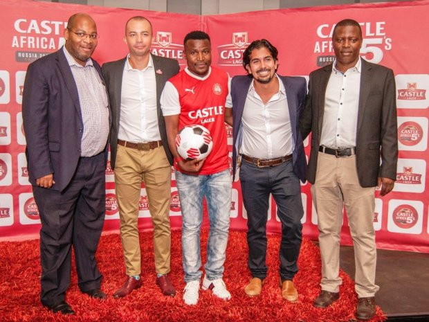 Soccer legend Christopher Katongo celebrates the launch of the Castle 5s football league, with Zambian Breweries Country Director Jose Moran and Football Association of Zambia Secretary General Ponga Liwewe, Zambian Breweries Head of Marketing Sibajene Munkombwe (right) and Castle LagerAfrica Brand Manager Thomas Lawrence (second left)