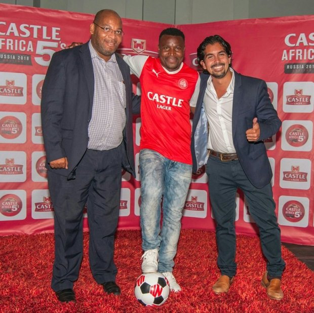Soccer legend Christopher Katongo celebrates the launch of the Castle 5s football league, with Zambian Breweries Country Director Jose Moran and Football Association of Zambia Secretary General Ponga Liwewe