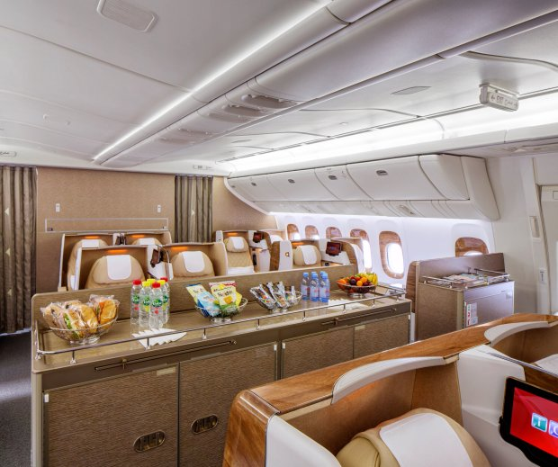 The new Business Class cabin also features a social area – unique to the Boeing 777-200LR fleet