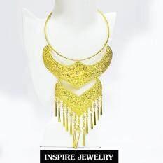 Inspire Jewelry ,เครื่องประดับสังวาลย์ แบบโบราณ งานแฟชั่น สีทอง สำหรับประดับชุดไทย สวยหรู เหมาะกับการแต่งกายที่สวยงาม เสื้อลูกไม้ ชุดไทย ผ้าไหม ผ้าไทยต่างๆ บุพเพสันนิวาส  หนึ่งด้าว เครื่องประดับโบราณ