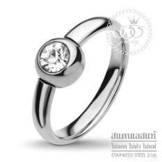 555jewelry แหวนสแตนเลส สตีล หัวแหวนประดับด้วยเพชร CZ ดีไซน์คลาสสิค รุ่น FSR112 - แหวนผู้หญิง แหวนแฟชั่น แหวนสวยๆ แหวนคู่รัก (RB40)