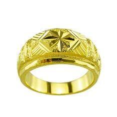 Tfine แหวนชายทองตัดลายจิกเพชร