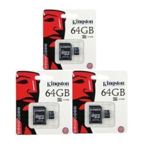 Kingston Memory Kingston Memory Card Micro SD SDHC 64 GB Class 10 คิงส์ตัน เมมโมรี่การ์ด 64 GB รุ่น แพ็ค 3ชิ้น