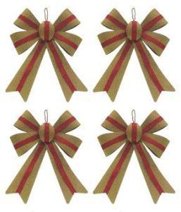 AllMerry Christmas โบว์ทองคาดริ้บบิ้นแดง 12x17 ซม. (ชุด4อัน)