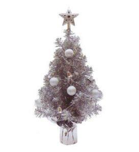 AllMerry Christmas ต้นคริสต์มาสสีเงิน 1.5 ฟุต ประดับบอลเงิน สายระฆังเงิน ยอดดาวเงิน (ชุด 2 ต้น)