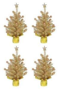 AllMerry Christmas ต้นคริสต์มาสสีทอง 1ฟุต ประดับปลายตุ้มทอง (ชุด 4 ต้น)