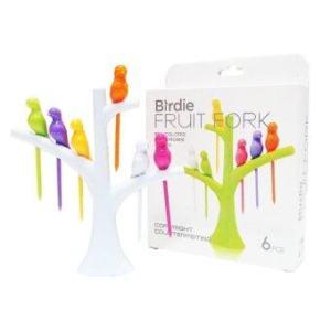 Karabada ไม้จิ้มผลไม้ ที่จิ้ม ไม้เสียบอาหารว่าง Birdie Fruit fork Wooden Spoon Sticks DIY - สีขาว