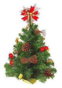 AllMerry Christmas ต้นคริสต์มาส 1.5 ฟุต ประดับโบว์+ดอกสน+ลูกเชอรี่ ยอดโบว์ (ชุด 6 ต้น) - สีเขียว