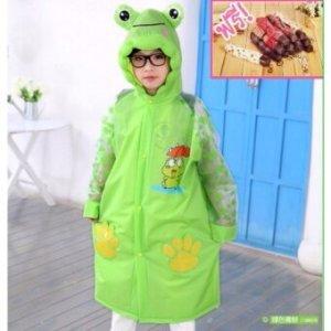 เสื้อกันฝนเด็ก ลายกบสีเขียว (ไซส์ L)