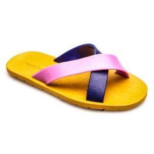 รองเท้าแตะ blackOut – รุ่น BO-1001 พื้นน้ำตาล หูน้ำเงิน-ม่วง