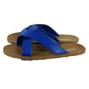 blackOut รองเท้าแตะ รุ่น BO-1001 สีน้ำตาล หูน้ำเงิน-น้ำเงิน