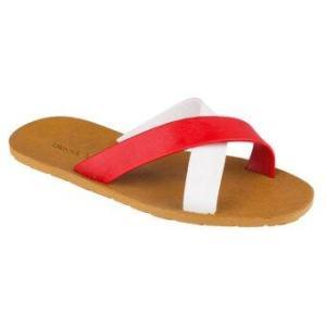 รองเท้าแตะ blackOut - รุ่น BO-1001 พื้นน้ำตาล หูแดง-ขาว