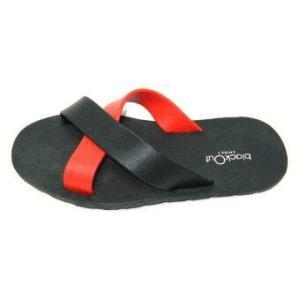blackOut รองเท้าแตะ - รุ่น BO-1001 สีดำหูแดง-ดำ
