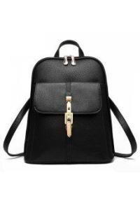 MAKER Womens Korean PU Leather Black 318 Backpack (Intl)