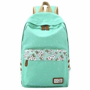niceEshop Floral Print Casual Lightweight Canvas Backpack